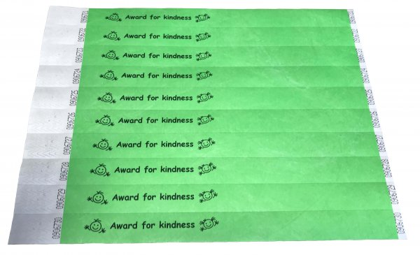 100 Green Award For Kindness Tyvek Wristbands 3/4""