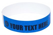 100 Premium Custom Printed Blue Tyvek Wristbands