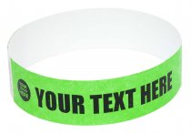 100 Premium Custom Printed Neon Green Tyvek Wristbands 3/4""
