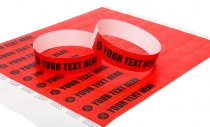 100 Premium Custom Printed Red Tyvek Wristbands 3/4""