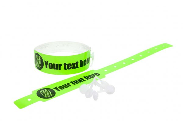 100 Printed Thermal Wristbands (Neon Green)