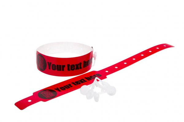 100 Printed Thermal Wristbands (Red)