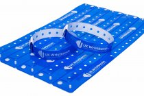1000 Custom printed Neon Blue L Shaped Wristbands