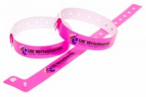 1000 Custom printed Neon Pink L Shaped Wristbands