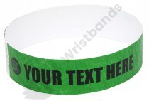 100 Premium Custom Printed Dark Green Tyvek Wristbands 3/4""