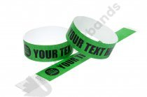 100 Premium Custom Printed Dark Green Tyvek Wristbands
