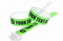 100 Premium Custom Printed Neon Green Tyvek Wristbands