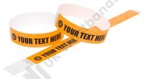 100 Premium Custom Printed Neon Orange Tyvek Wristbands 3/4""