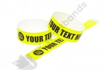 100 Premium Custom Printed Neon Yellow Tyvek Wristbands