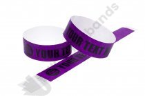 100 Premium Custom Printed Purple Tyvek Wristbands