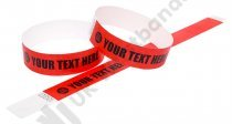 100 Premium Custom Printed Red Tyvek Wristbands 3/4″