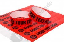 100 Premium Custom Printed Red Tyvek Wristbands