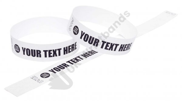 100 Premium Custom Printed White Tyvek Wristbands 3/4""