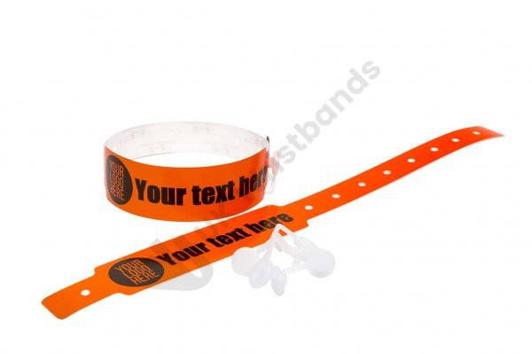 100 Printed Thermal Wristbands (Orange)