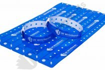 200 Custom printed Neon Blue L Shaped Wristbands