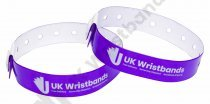 50 Custom printed Purple L Shaped Wristbands